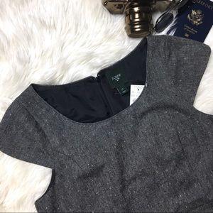 J. CREW Tweed Grey Cap Sleeve Lined Shift Dress